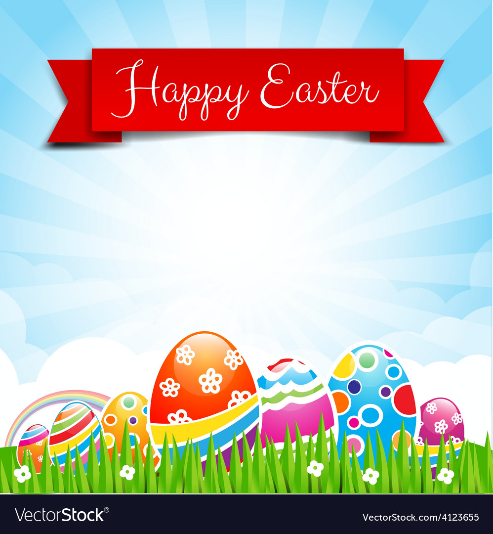 Happy easter egg text with ribbon on nature vector | Price: 1 Credit (USD $1)