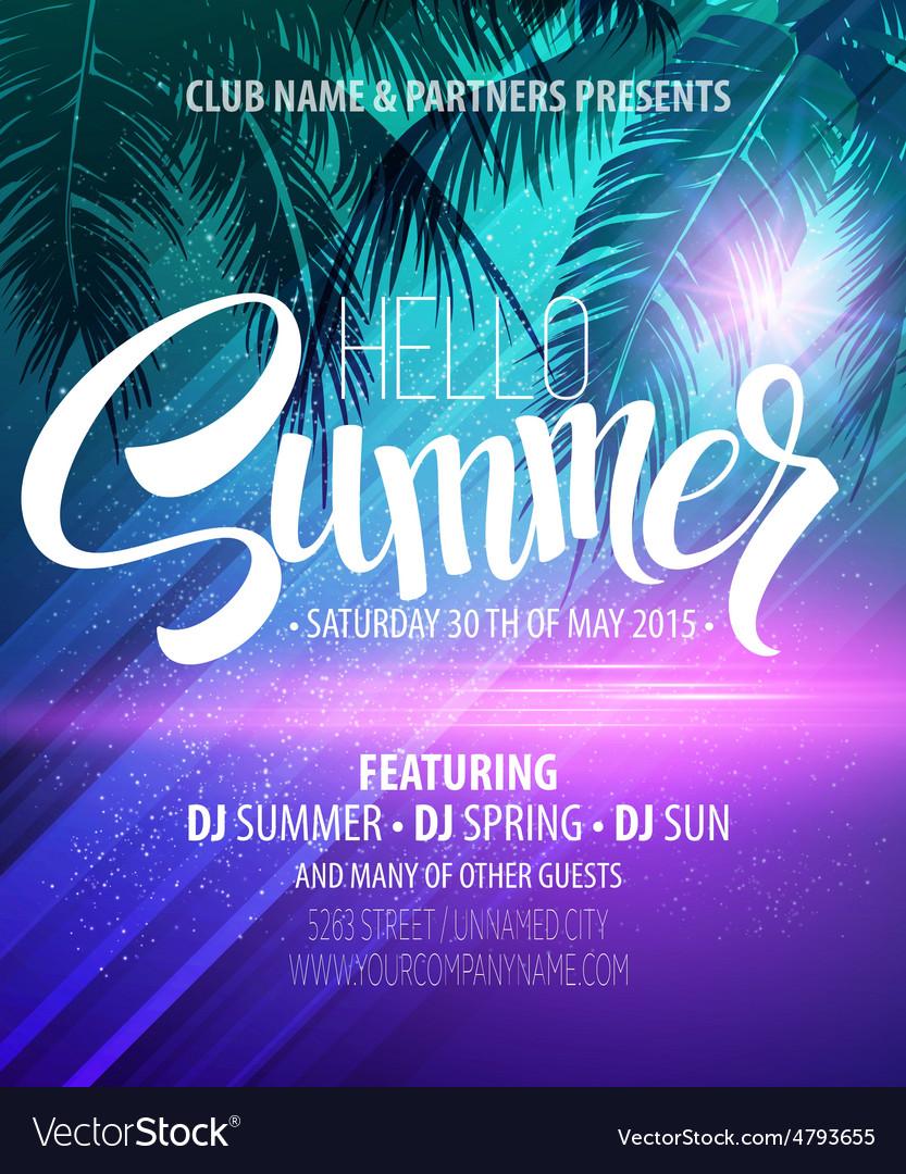 Hello summer beach party flyer design vector | Price: 1 Credit (USD $1)