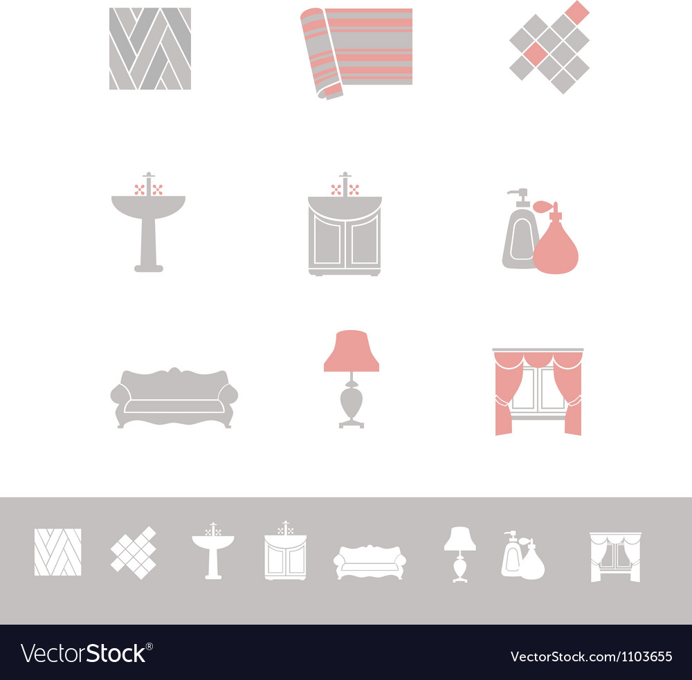 Home related icon set vector | Price: 1 Credit (USD $1)