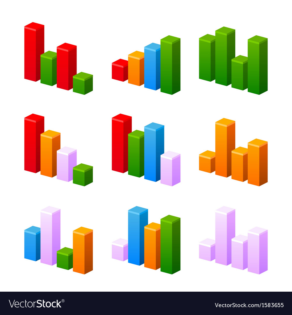 Infographic set with colorful charts vector | Price: 1 Credit (USD $1)