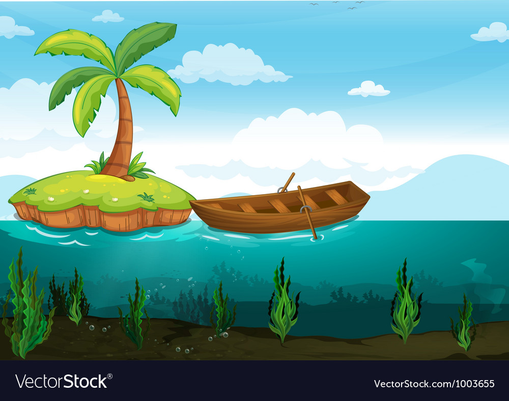 Palm tree and rowboat vector | Price: 3 Credit (USD $3)
