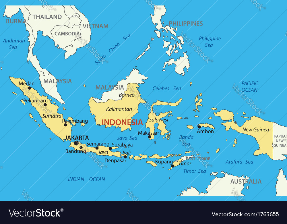 Republic of indonesia - map vector | Price: 1 Credit (USD $1)