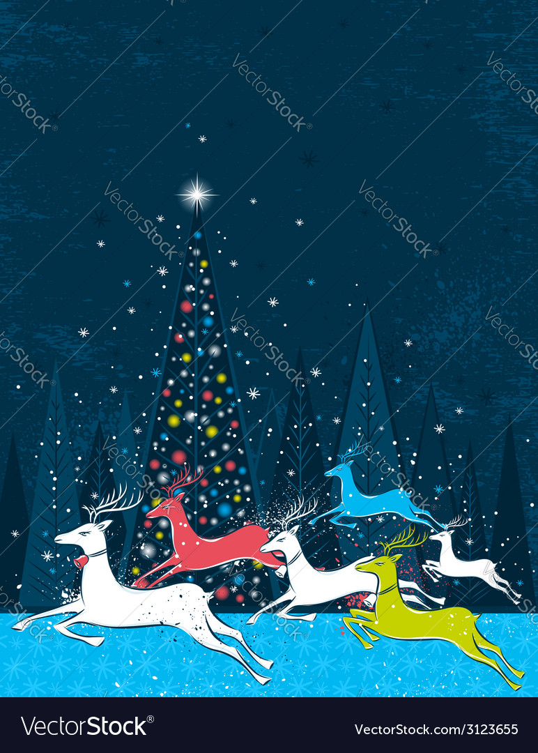 Running christmas deers in the blue forest vector | Price: 1 Credit (USD $1)