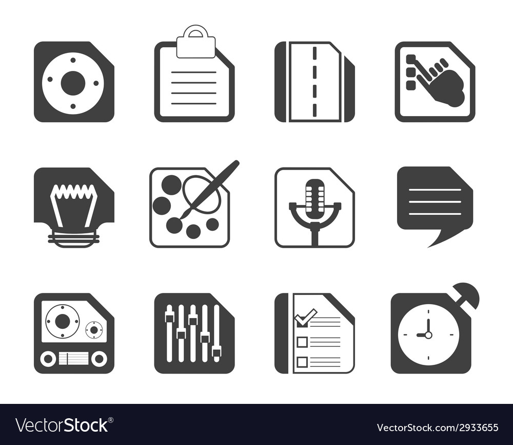 Silhouette mobile phones and internet icons vector | Price: 1 Credit (USD $1)