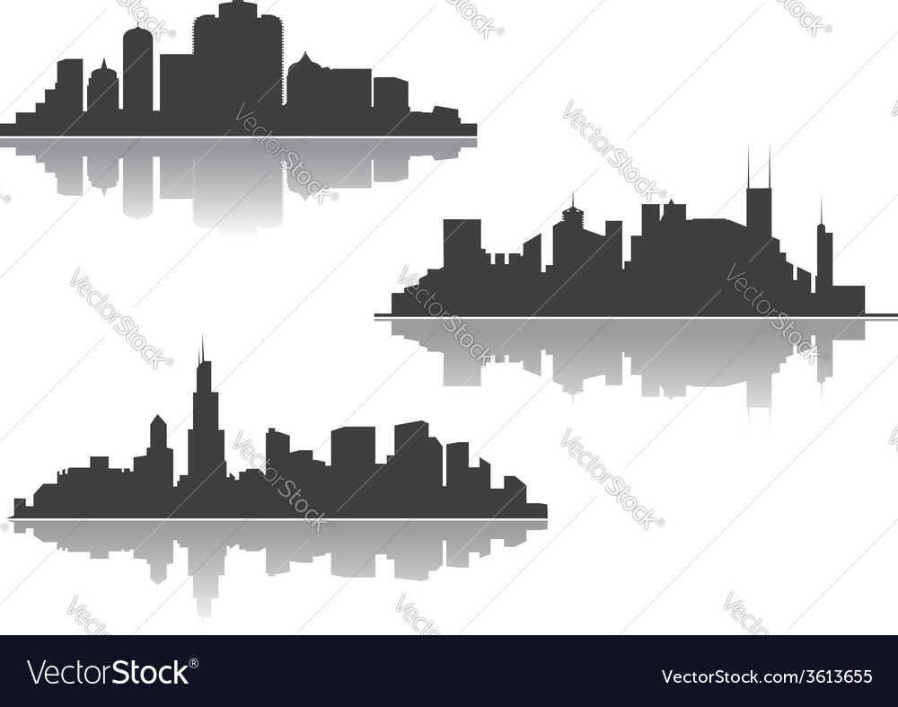 Silhouettes of downtown cityscape vector | Price: 1 Credit (USD $1)