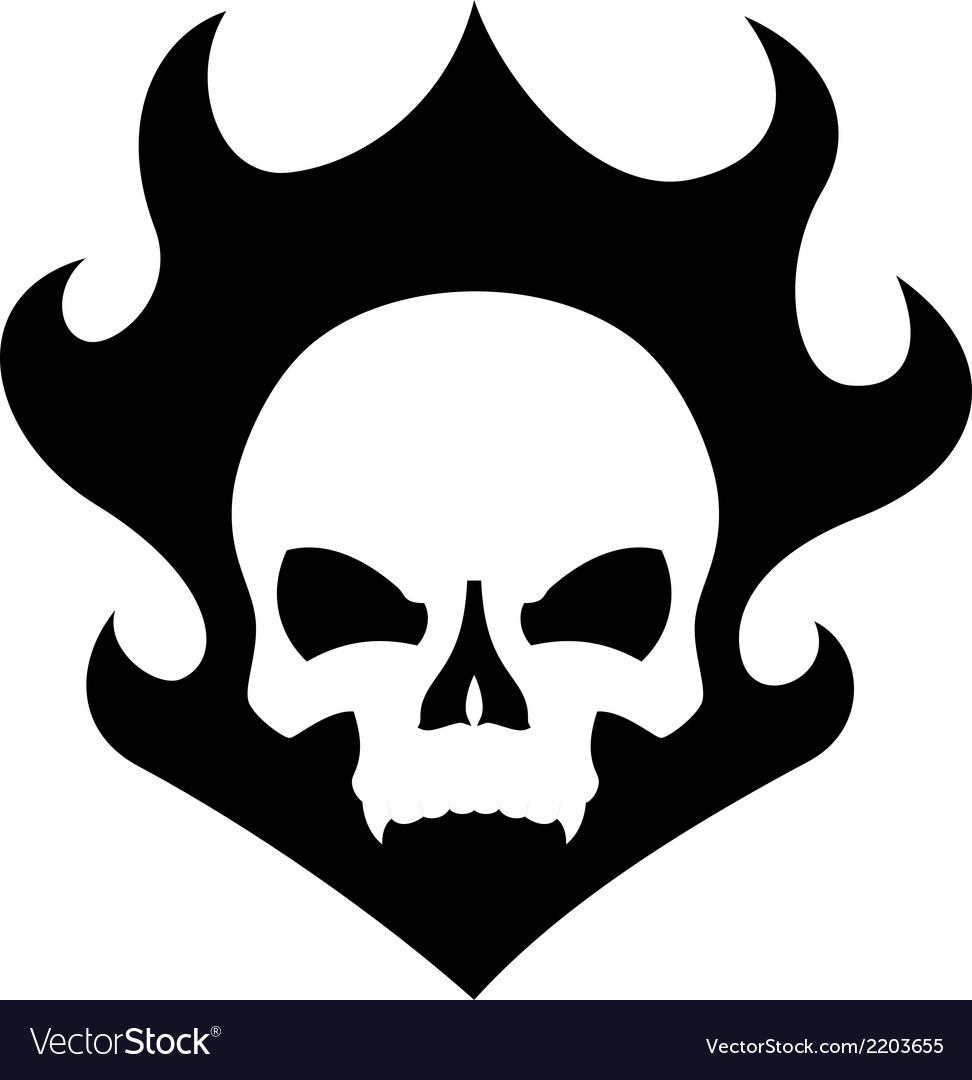 Skull black flame vector | Price: 1 Credit (USD $1)