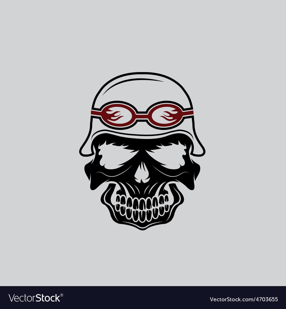 Skull in helmet biker theme design template vector | Price: 1 Credit (USD $1)
