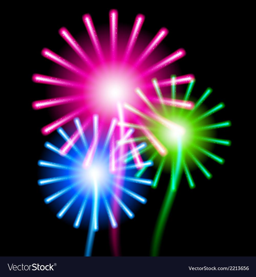 Color fireworks on black background vector | Price: 1 Credit (USD $1)