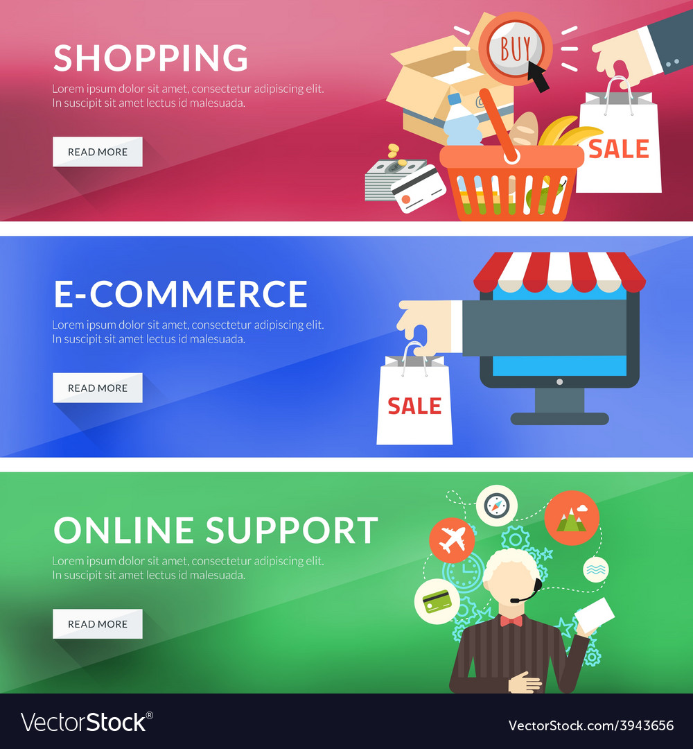 Flat design concept for shopping e-commerce online vector | Price: 1 Credit (USD $1)