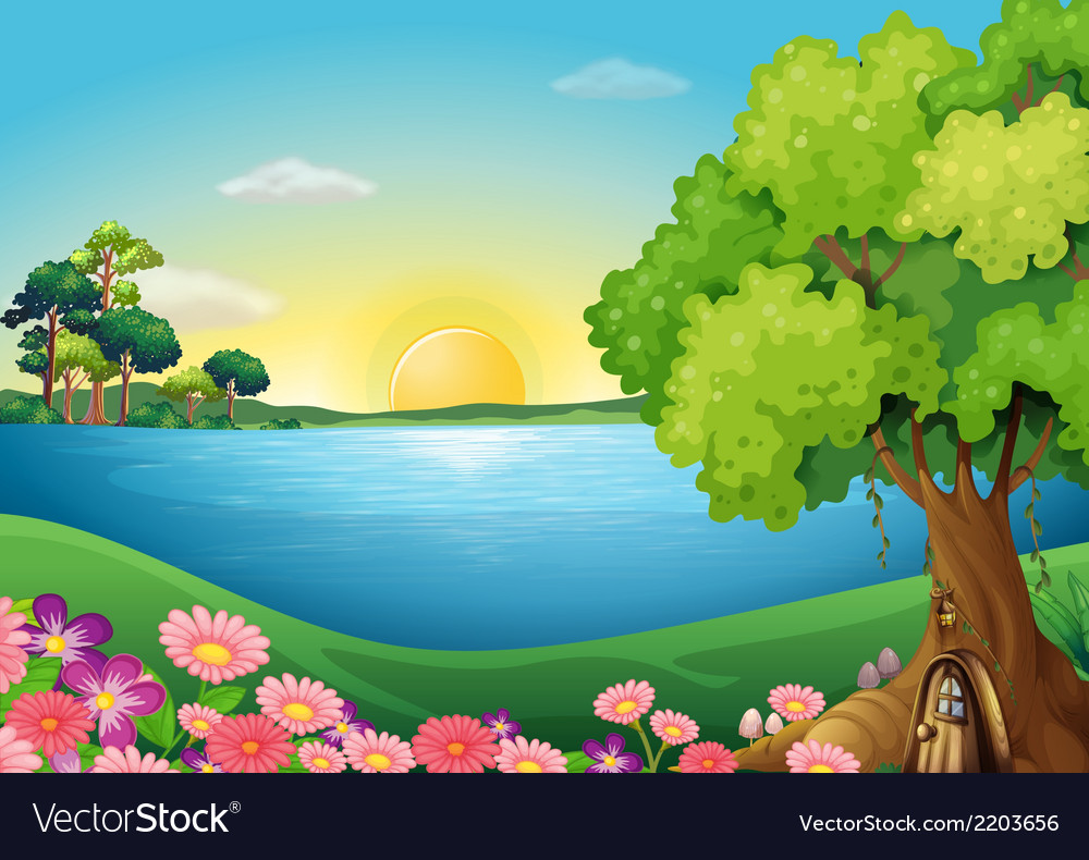 Fresh flowers at the riverbank near the treehouse vector | Price: 3 Credit (USD $3)