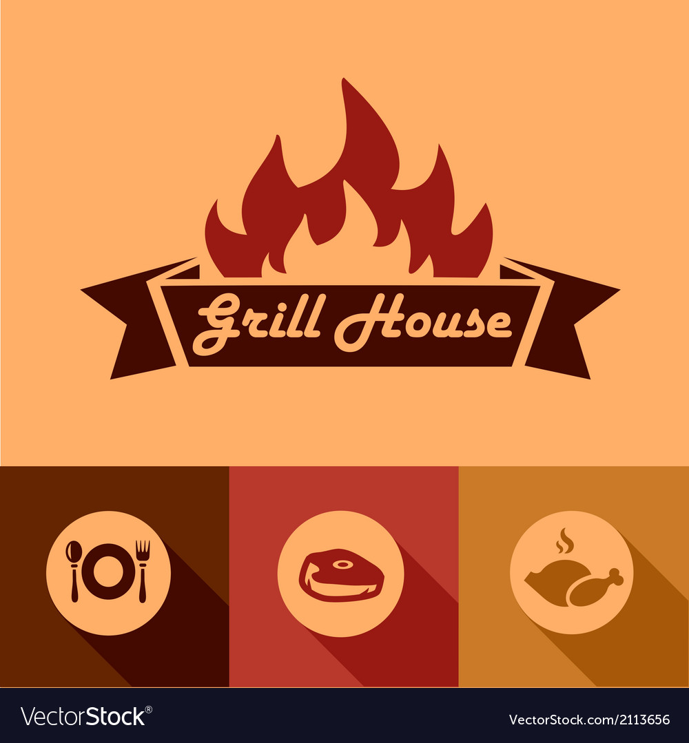 Grill house design elements vector | Price: 1 Credit (USD $1)
