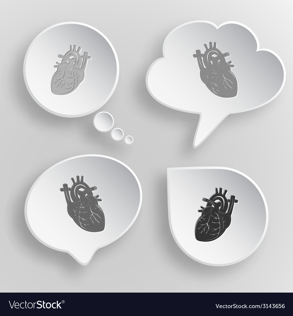 Heart white flat buttons on gray background vector | Price: 1 Credit (USD $1)