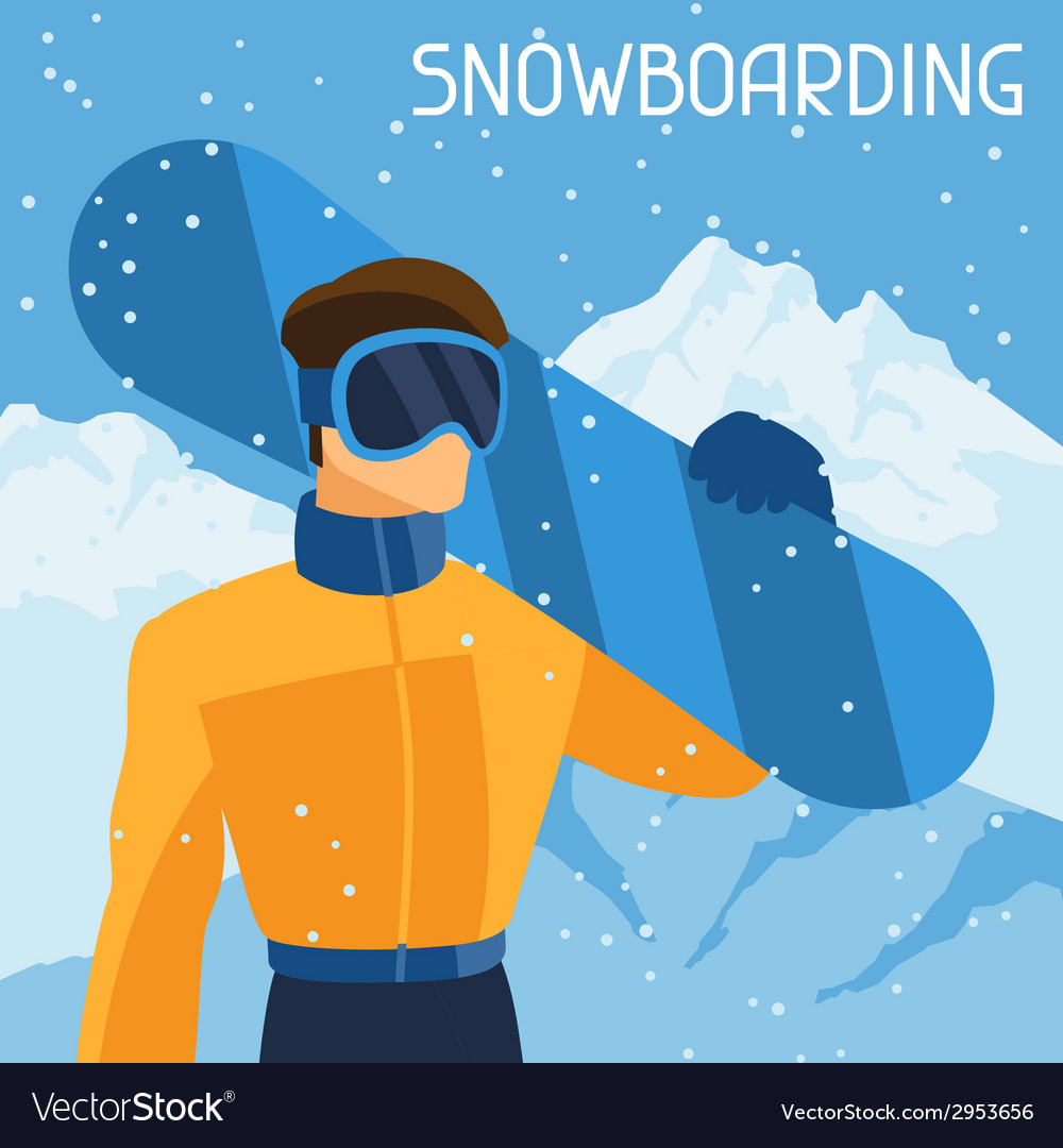 Man snowboarder on mountain winter landscape vector | Price: 1 Credit (USD $1)