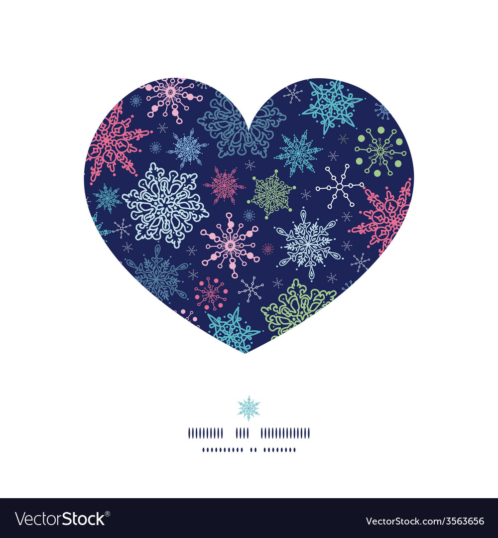 Snowflakes on night sky heart silhouette pattern vector | Price: 1 Credit (USD $1)