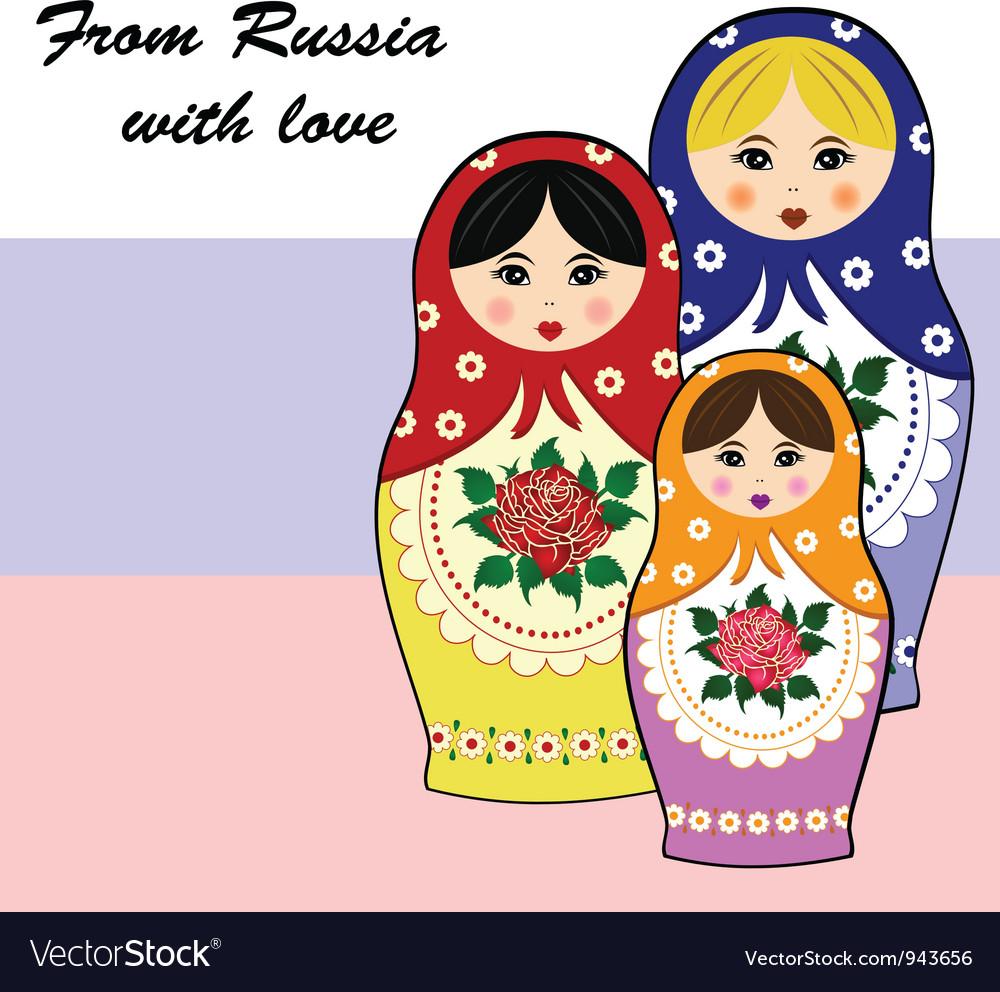 Traditional russian matryoschka dolls vector