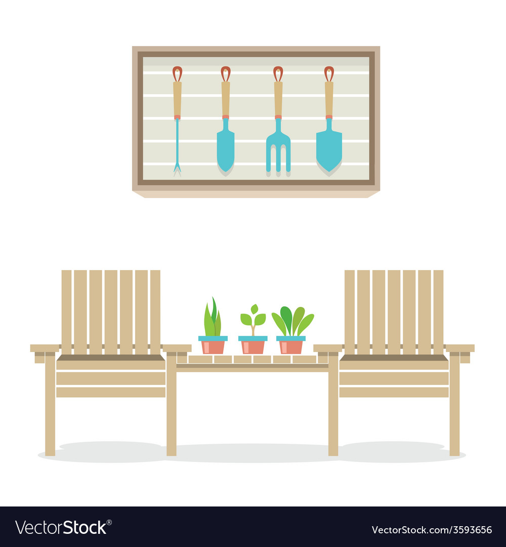 Wooden garden chairs with plants and tools vector | Price: 1 Credit (USD $1)
