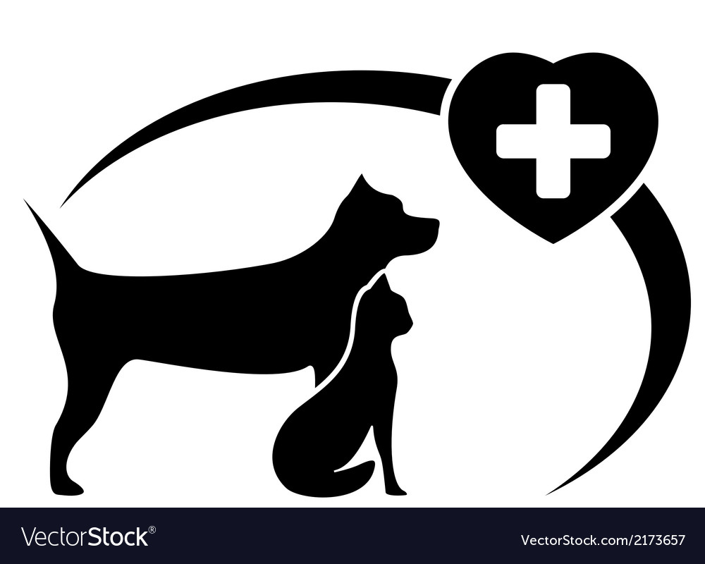 Black veterinary symbol with dog and cat vector | Price: 1 Credit (USD $1)