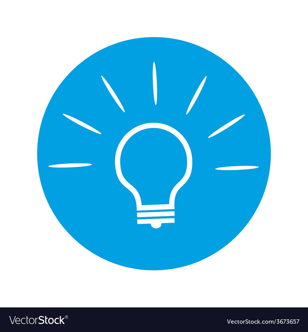 Bulb icon on round blue background vector   Price: 1 Credit (USD $1)