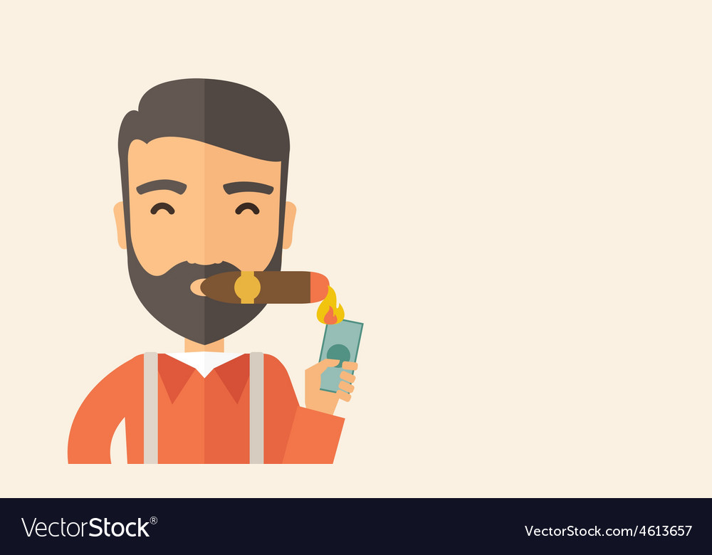 Businessman lighting the cigar tobacco vector | Price: 1 Credit (USD $1)
