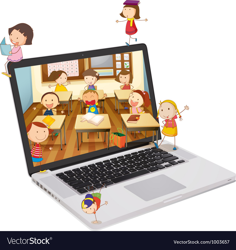 Classroom picture on laptop vector | Price: 3 Credit (USD $3)
