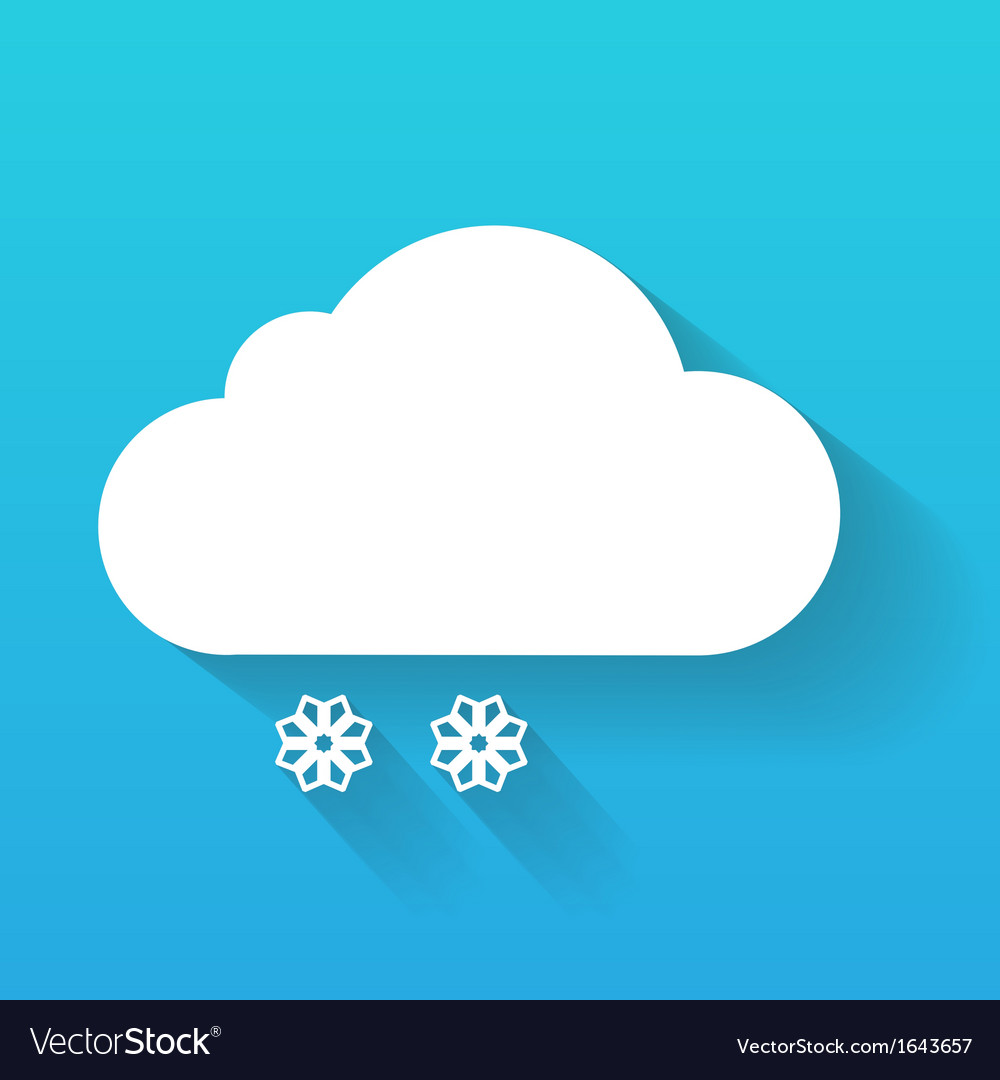 Day cloud and snow flakes isolated on blue vector | Price: 1 Credit (USD $1)