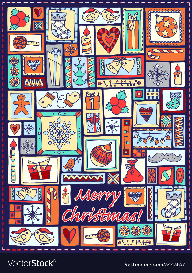 Geometric christmas doodle hand drawn pattern vector | Price: 1 Credit (USD $1)