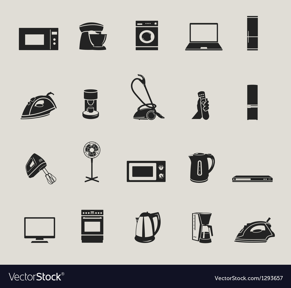 Home appliances and electronics icons set vector | Price: 1 Credit (USD $1)