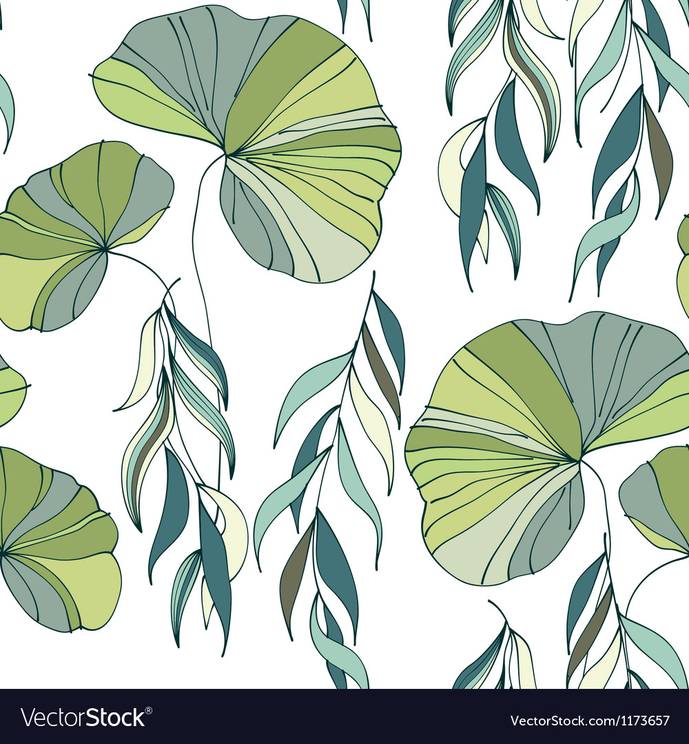 Lily willow branches seamless pattern background vector | Price: 1 Credit (USD $1)
