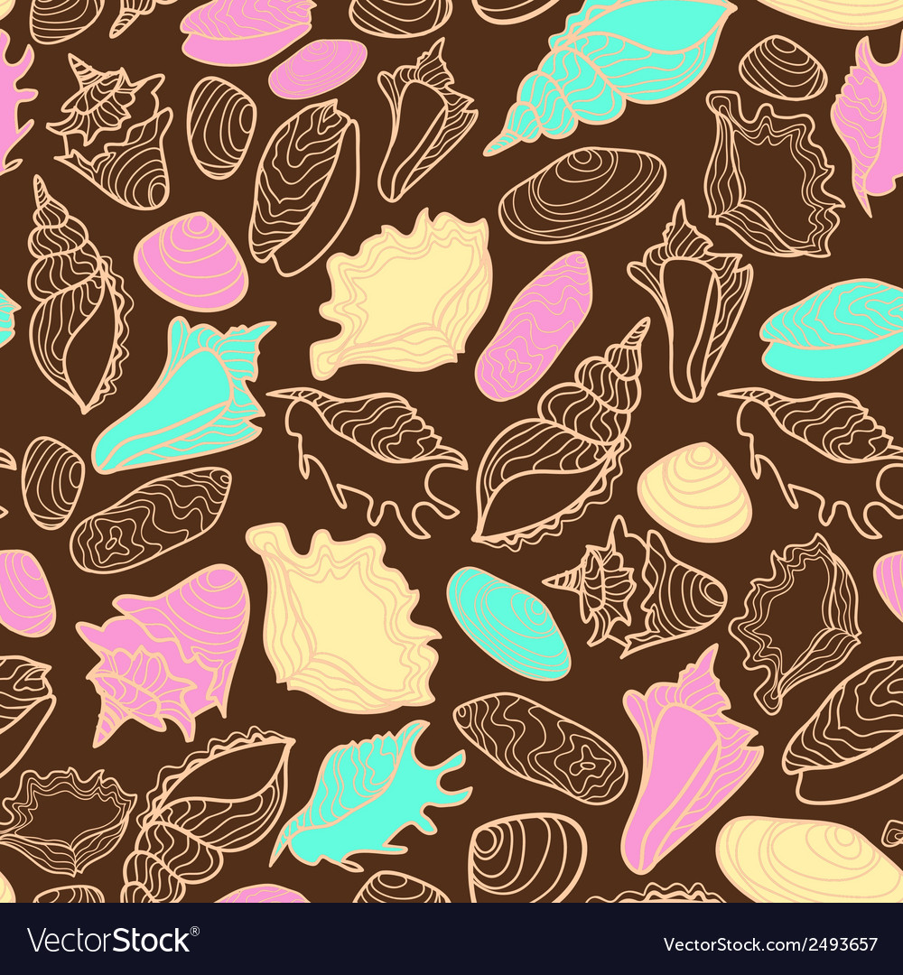 Seamless pattern with cute seashells vector | Price: 1 Credit (USD $1)