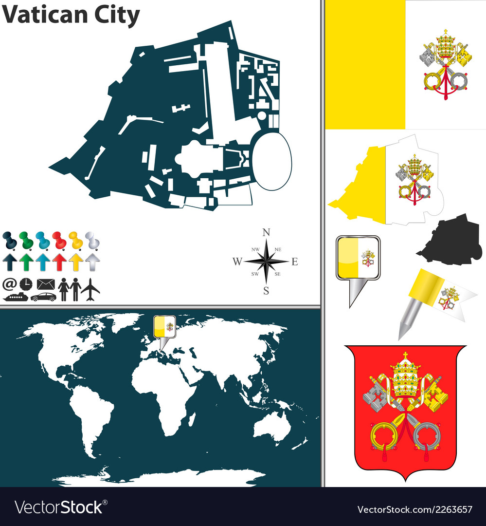 Vatican city map vector | Price: 1 Credit (USD $1)
