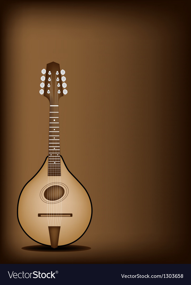 Antique mandolin on dark brown background vector | Price: 1 Credit (USD $1)