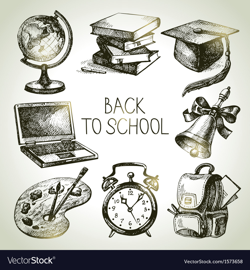 Back to school hand drawn school object set vector | Price: 1 Credit (USD $1)