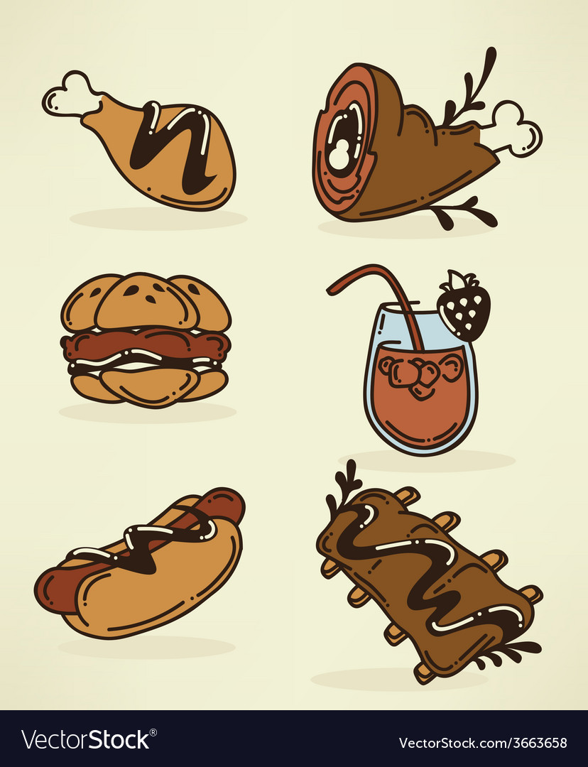 Bbq food collection vector | Price: 1 Credit (USD $1)