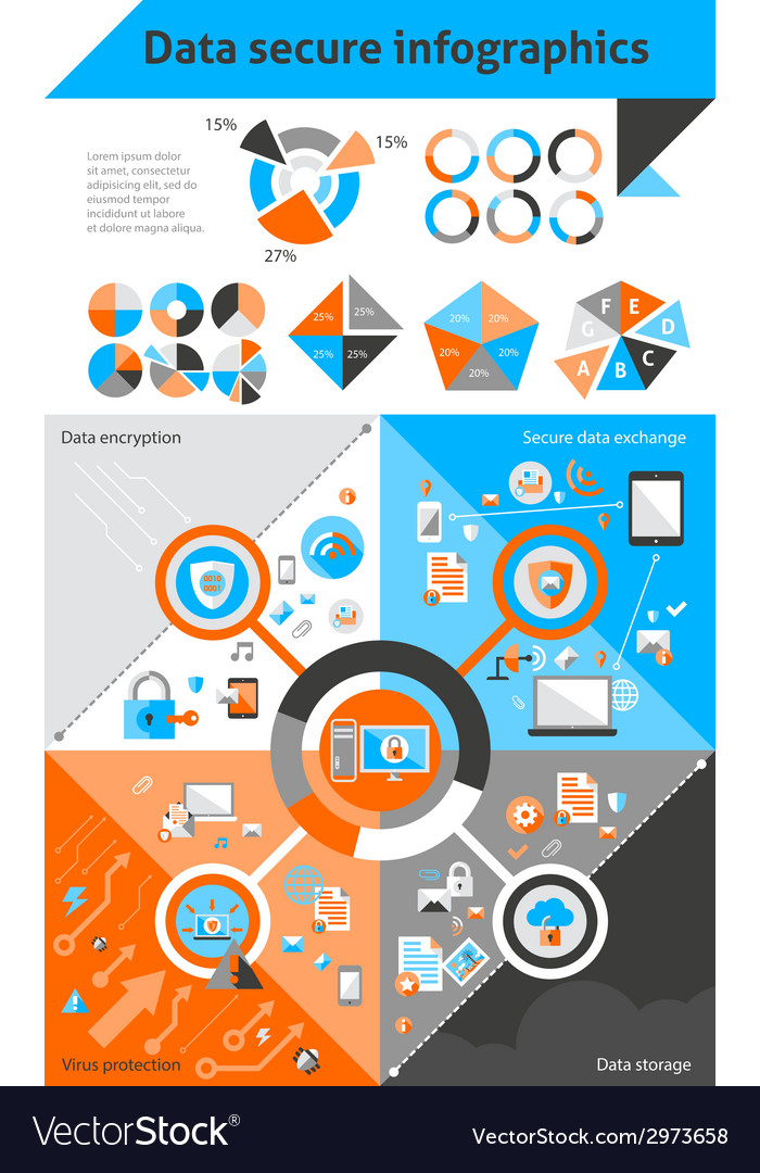 Data secure infographics vector | Price: 1 Credit (USD $1)