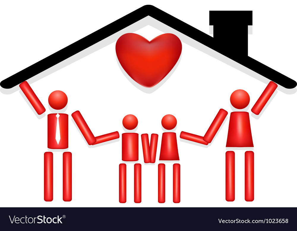 Family safe at home with love vector | Price: 1 Credit (USD $1)