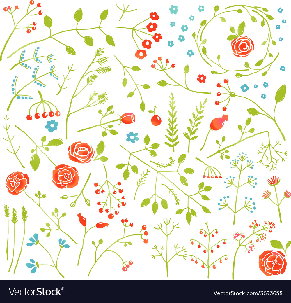 Floral doodle field flowers and plants decoration vector | Price: 1 Credit (USD $1)