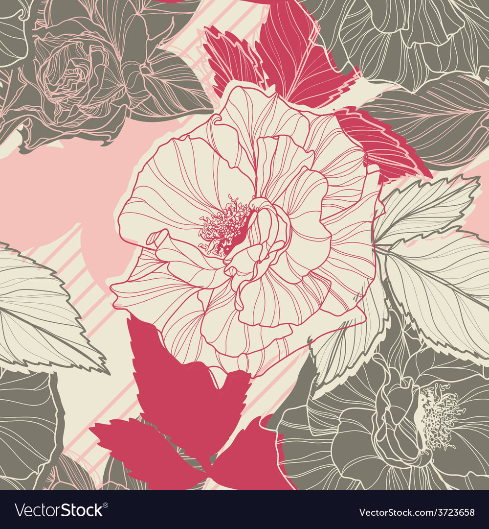 Gentle floral seamless pattern with handdrawn vector | Price: 1 Credit (USD $1)