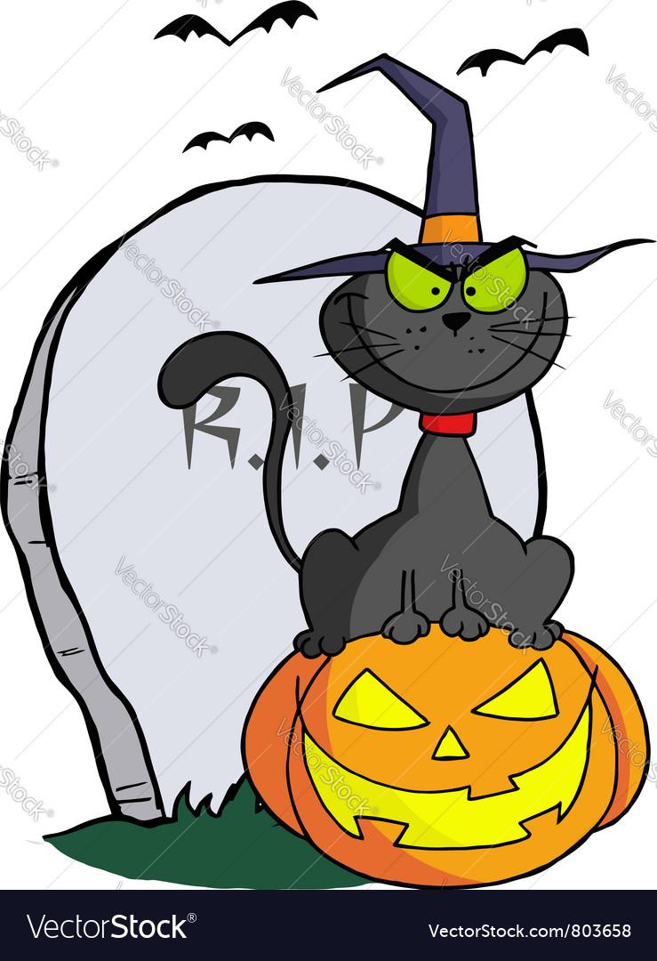 Halloween cat on pumpkin near tombstone vector | Price: 1 Credit (USD $1)