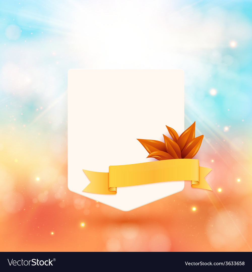 Paper note with ribbon and leaves on bright autumn vector | Price: 1 Credit (USD $1)