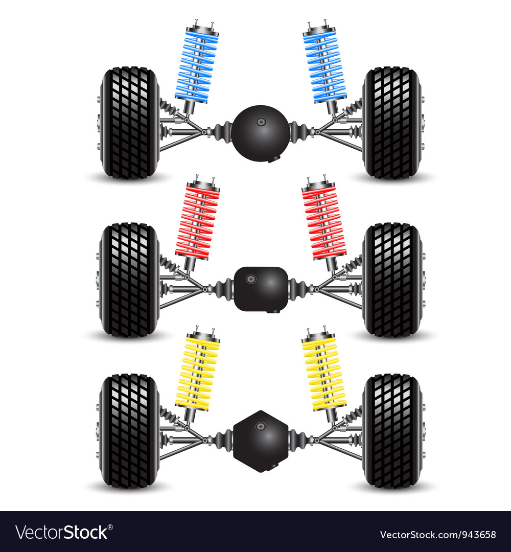 Set car rear suspension vector | Price: 1 Credit (USD $1)