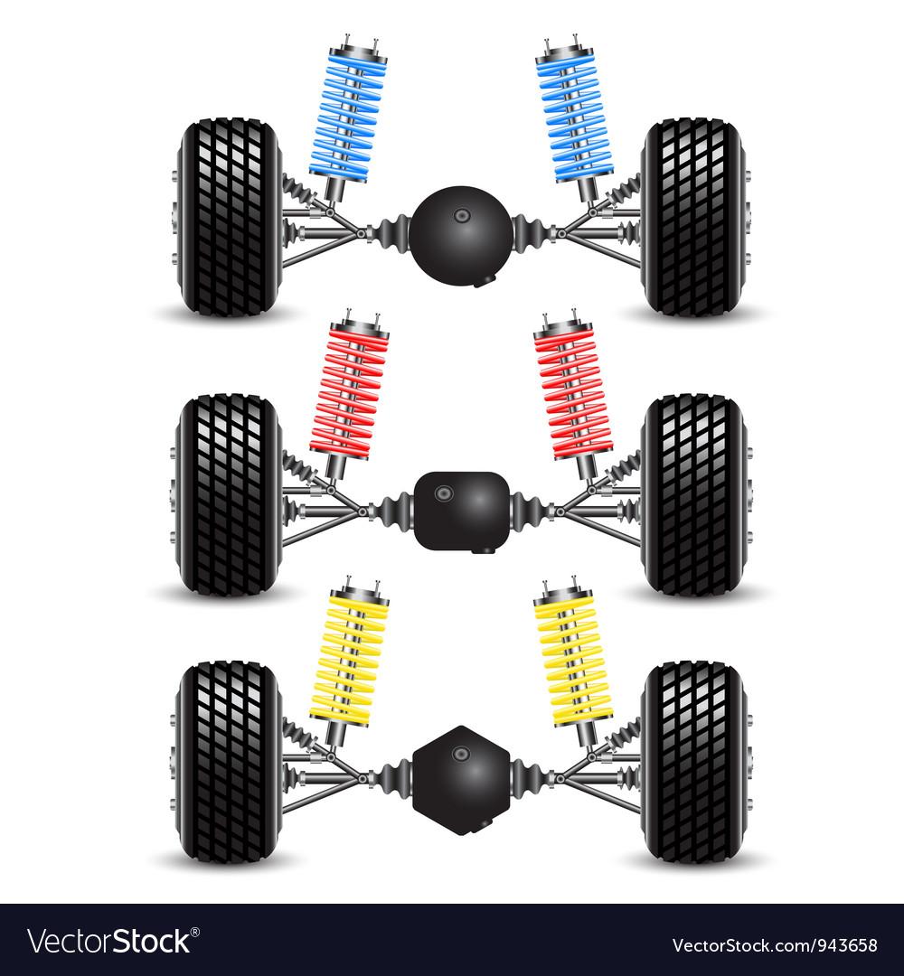 Set car rear suspension vector | Price: 1 Credit (USD $1)