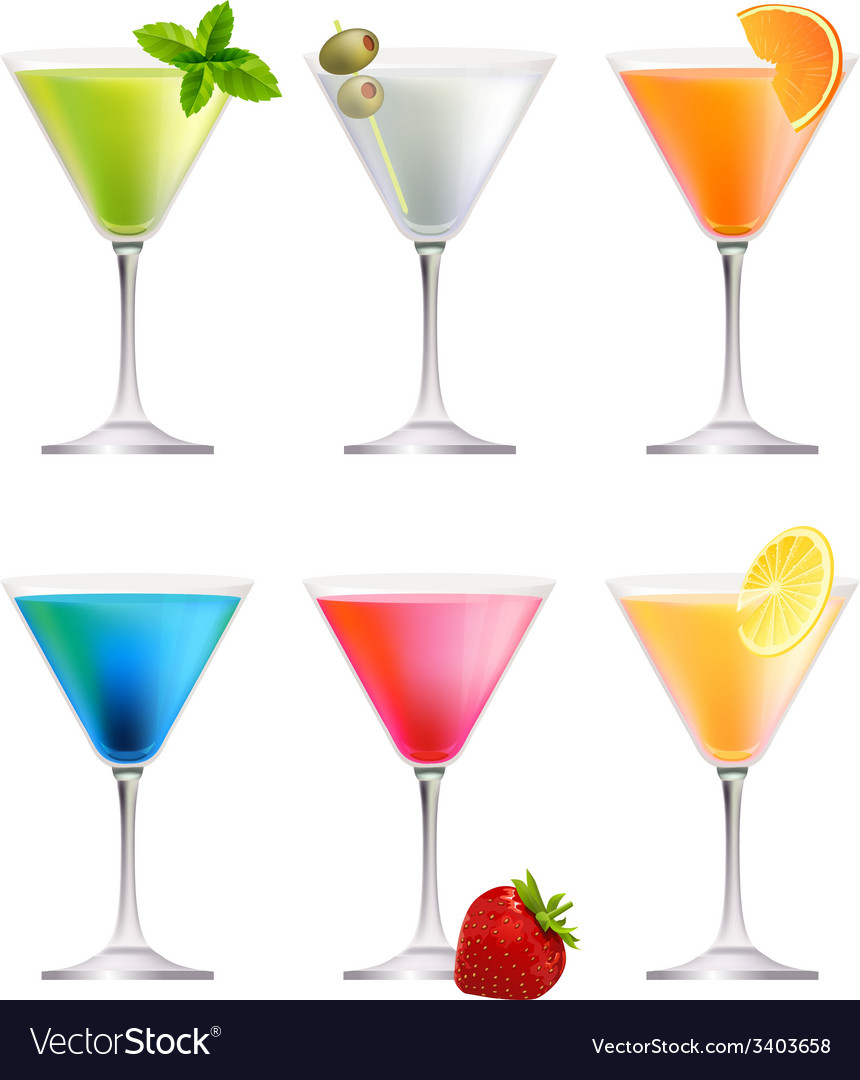 Set with detailed cocktails on white vector | Price: 1 Credit (USD $1)
