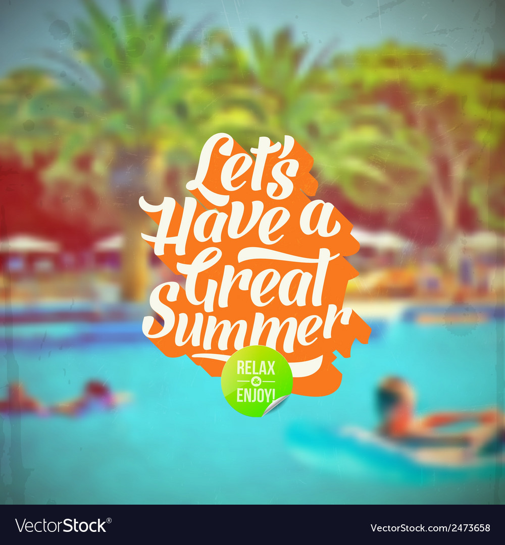 Summer vacation retro type design and hotels pool vector | Price: 1 Credit (USD $1)