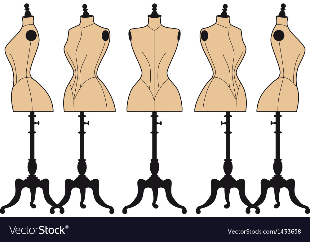 Vintage fashion mannequins set vector | Price: 1 Credit (USD $1)
