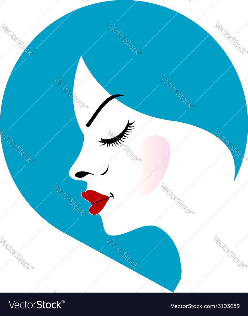 A ladys face in a blue placement- beauty logo vector | Price: 1 Credit (USD $1)