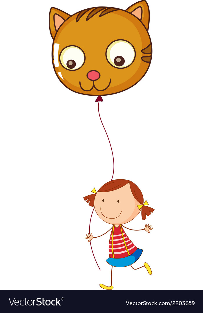 A little girl holding a cat balloon vector | Price: 1 Credit (USD $1)