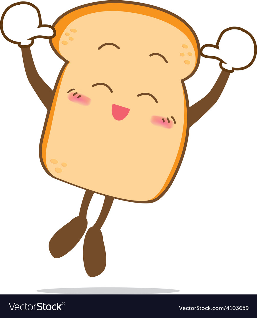 Bread 12 isolated happy smile jumping slice of vector   Price: 1 Credit (USD $1)