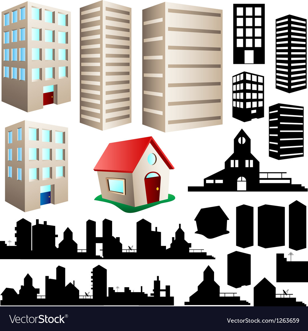 Building and cityscape set vector | Price: 1 Credit (USD $1)