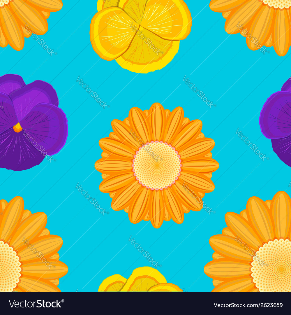 Flowers seamless blue pattern vector | Price: 1 Credit (USD $1)