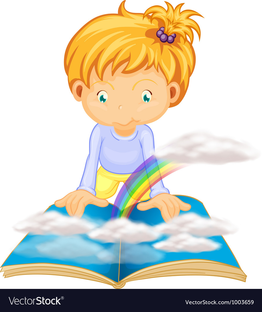 Little girl reading vector